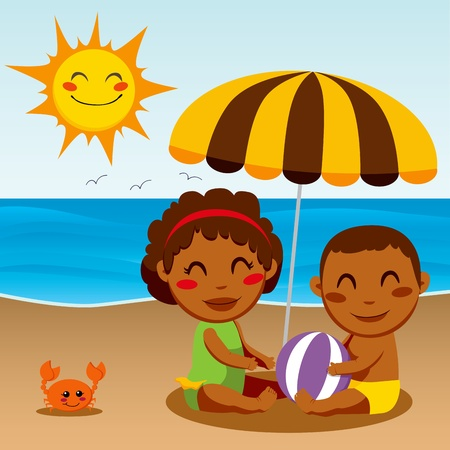siblings: Black ethnicity little boy and girl children siblings playing sitting under a parasol at the beach on a sunny day