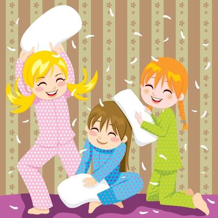 Tres j�venes que se divierten haciendo lucha de almohadas en una fiesta de pijama Foto de archivo - 9946404