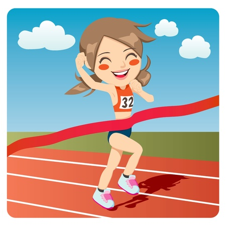 female athletes: Young athlete woman winning Olympic games sprint race competition Illustration