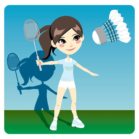 badminton: Young brunette woman playing professional badminton indoors