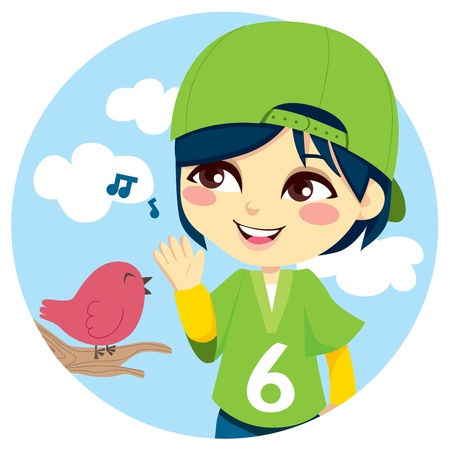 song bird: Young boy with green baseball cap listening a cute little bird singing