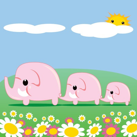 pink elephant: Sweet pink elephant family walking through grass and flower meadow