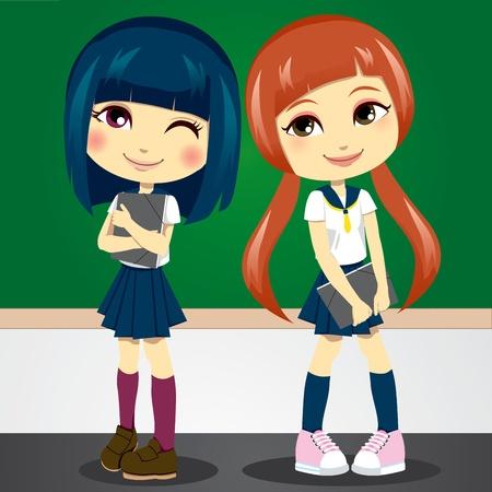 school girl uniform: Due timido ragazze adolescenti in uniforme studente che trasportano le cartelle sul primo giorno di scuola