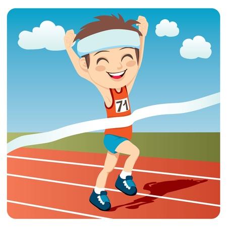 hombre deportista: Hombre joven atleta gan� la competencia de carrera de sprint de los Juegos Ol�mpicos