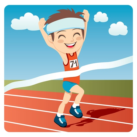 sport cartoon: Young athlete man winning sports competition games sprint race competition