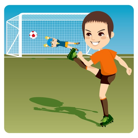 Boy kicking soccer ball to score a goal and win the competition Vector