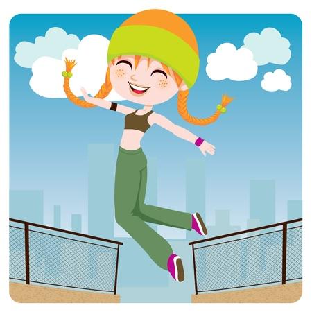 parkour: Linda joven saltando y practicando parkour en la ciudad