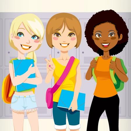 chicas adolescentes: Tres adolescentes colegialas regreso a la escuela feliz llevando las carpetas y mochilas de taquillas de escuela