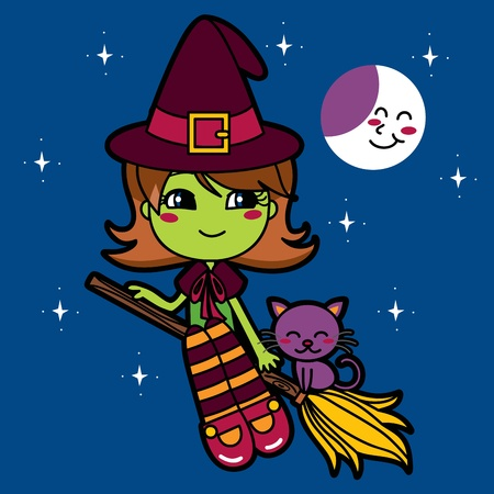 broomstick: Cute green witch flying in a broom at night with her cat pet Illustration