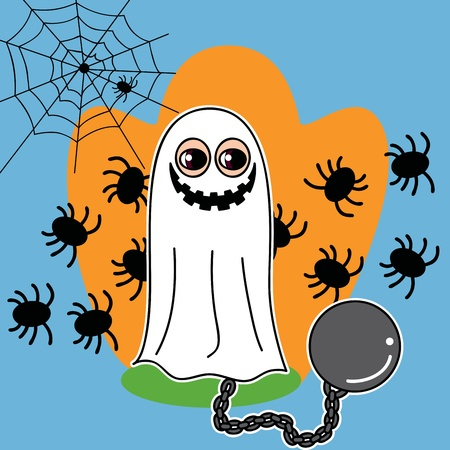 Boy with smiling ghost and chain costume and spiders in the background on halloween Vector