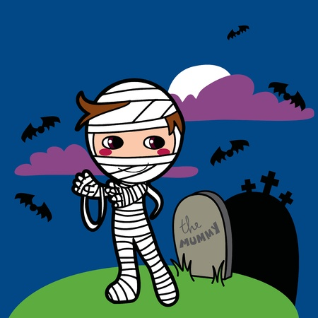 Little boy with mummy costume raising from the grave on halloween Vector
