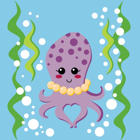 algae: Lovely female octopus with pearl necklace swimming between seaweed underwater and making a heart shape with two arms Illustration