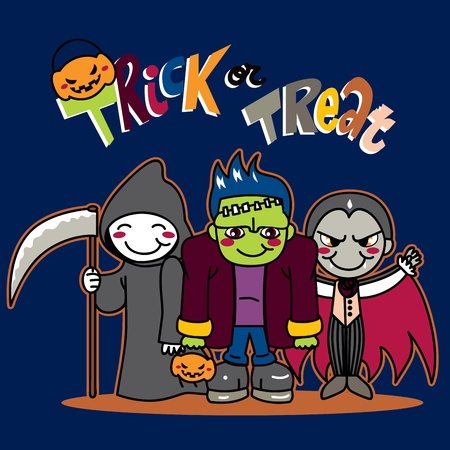 frankenstein: Three little kids in funny monster costumes going for Trick or Treat on Halloween