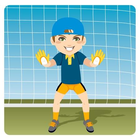 골키퍼: 목표를 저장하는 젊은 골키퍼 준비 및 경고