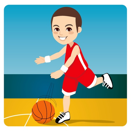 Young professional basketball player dribbling and bouncing the ball on the court Vector