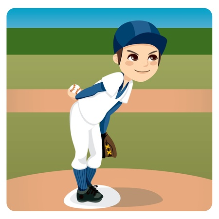 baseball diamond: Young baseball pitcher preparing to throw the ball Illustration