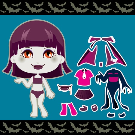 Cute vampire fashion girl clothes Halloween paper doll collection set Vector