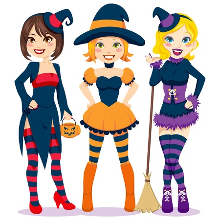 Three beautiful young women in colorful and funny witch costumes for Halloween party Vector