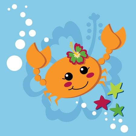 Cute orange female crab with hibiscus flower on her head waving pincers and smiling Illustration