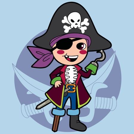 sailor: Happy kid in pirate costume for Halloween or Carnival party Illustration