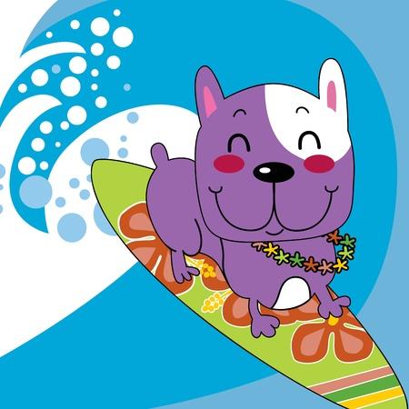 물결: 꽃 화환 서핑 보드에 귀여운 프랑스 불독 행복 서핑 바다 물결