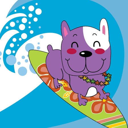 Cute french bulldog happy surfing ocean wave on surfboard with flower garland Illustration