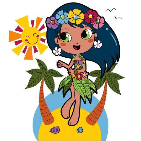 hawaiana: Linda chica hawaiana feliz bailando en la playa con guirnalda de flores en el pelo