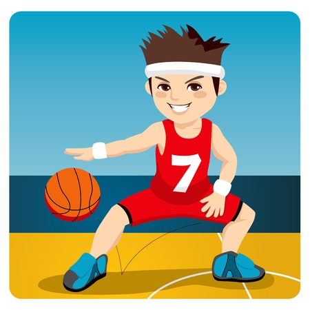 dribbling: Young active male basketball player dribbling and bouncing the ball on the court