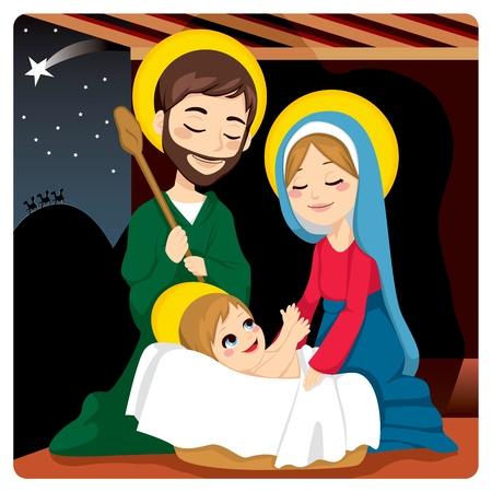 reyes magos: José y María alegre con bebé Jesús riendo y tres reyes sabios en el horizonte después de la estrella de Belén