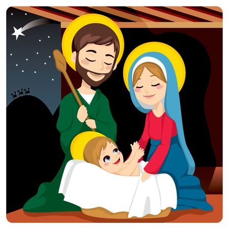 nativity scene: Joseph and Mary joyful with baby Jesus laughing and three wise kings on the horizon following the Star of Bethlehem