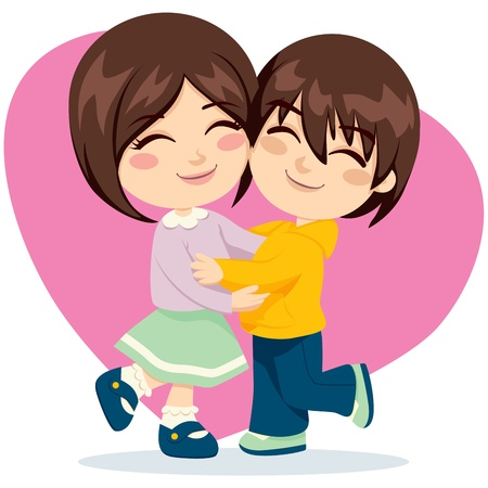 sibling: Adorable brother and sister happy together in lovely hug Illustration