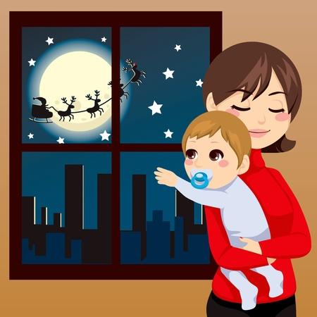 Baby probeert te Santa Claus raken door het raam op kerstnacht Vector Illustratie