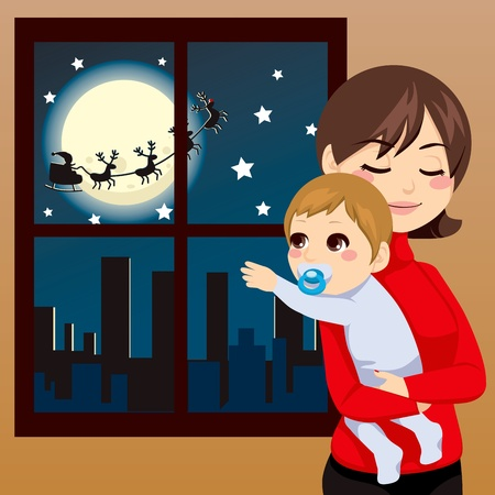 Baby trying to touch Santa Claus through the window on Christmas night Vector