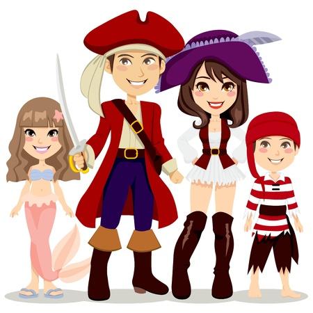 sombrero pirata: Cuatro personas familiar celebrando fiesta de Halloween con disfraces de pirata y sirena Vectores