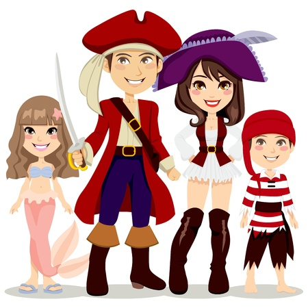 carnival costume: Four people family celebrating Halloween holiday party with pirate and mermaid costumes