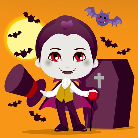 Cute little boy with Count Dracula vampire costume for Halloween night party Vector