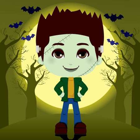 Young boy in frankenstein costume outdoors on full moon halloween night Stock Vector - 10626193