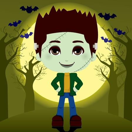 Young boy in frankenstein costume outdoors on full moon halloween night Stock Vector - 10626193