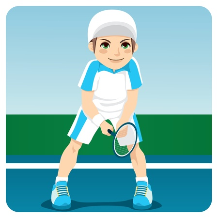 Young male professional tennis player ready to receive serve Vector