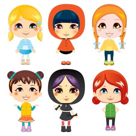 Sechs süße Mädchen aus diversen ethnischen Gruppen mit unterschiedlichen Kleidung