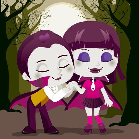 enamorados caricatura: Poco Conde Dr�cula besando su mano de novia vampiro disfrutando de una hermosa noche de Halloween o San Valent�n en un bosque de �rbol muerto