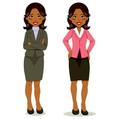 Zwarte executive vrouw in mantelpakje en casual kledingstijl