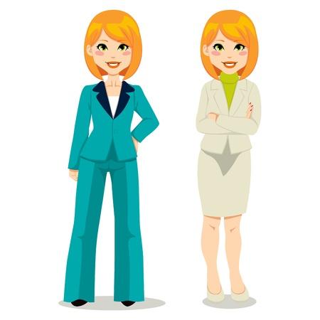 Redhair zakenvrouw in turquoise vrouw pak en beige rok pak