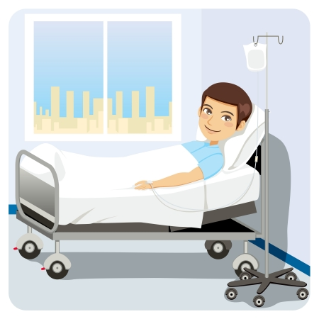 recovering: Young adult man resting at hospital bed with intravenous saline solution