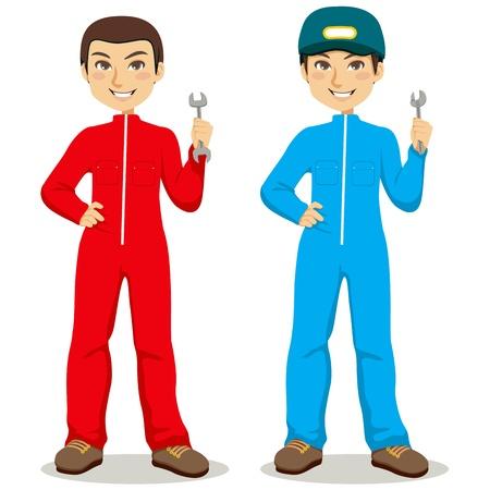 Travailleurs mécaniques doubles avec une salopette rouge et bleu la tenue des outils clé et clé