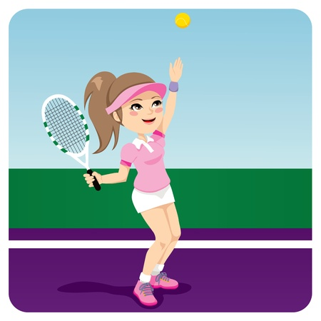 tennis serve: Young tennis woman player serving the ball with racket Illustration