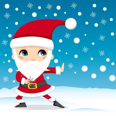 arte marcial: Noel lanzando estrellas ninja de copo de nieve en v�speras de Navidad