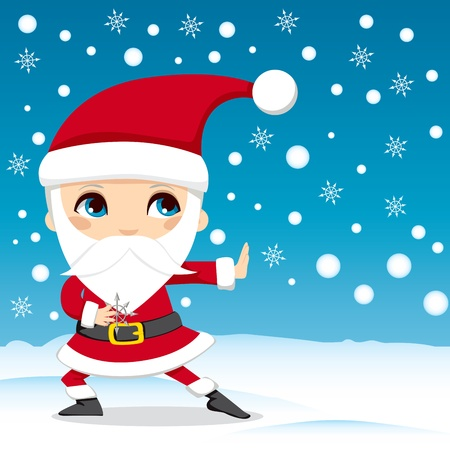 Santa Claus throwing snowflake ninja stars on Christmas Eve Vector