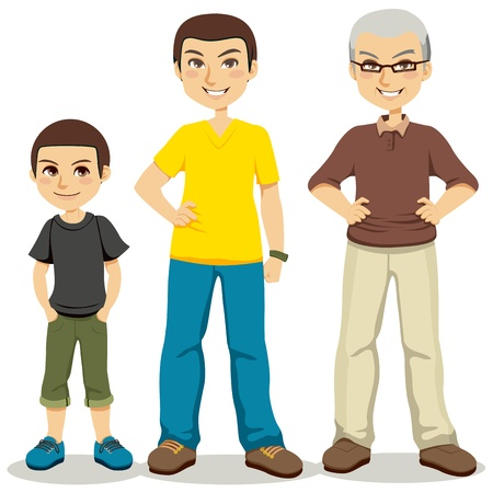 sons and grandsons: Illustration of three ages of men from child to senior
