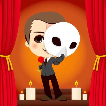 actors: Actor holding a rose and a mask on a stage representation of the Phantom of the Opera